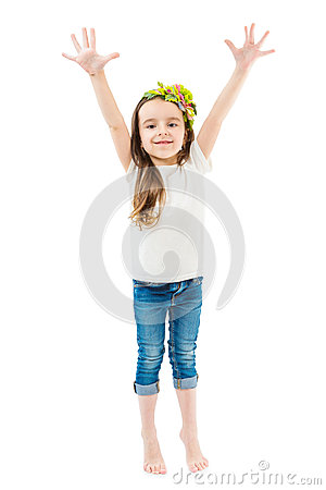 Free Small Cute Girl Raise Hands Up. Royalty Free Stock Photo - 71803765