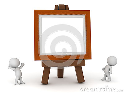 Small 3D Characters with Large Easel and Painting Frame Stock Photo