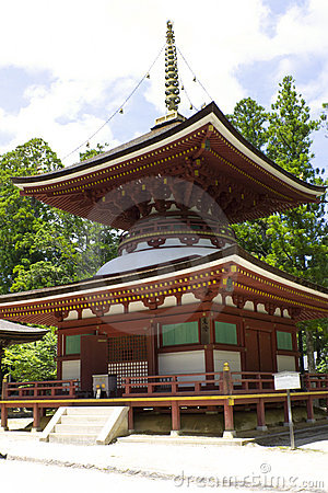 Small Dark Red Temple on Mount Kōya