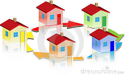 Small different houses round arrow