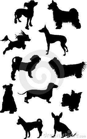 Small dogs silhouettes