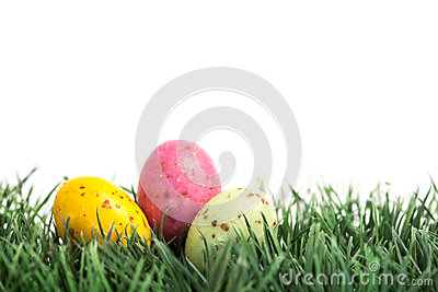 Small easter eggs nestled in the grass