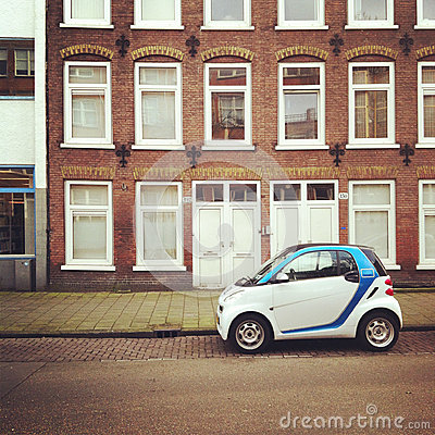 Small electric car on street