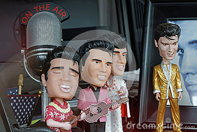 Small Elvis characters in a Memphis store Editorial Stock Photo