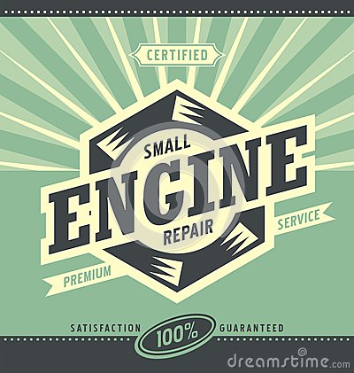 Small engine repair retro ad design stock vector image for Small motor repair shop