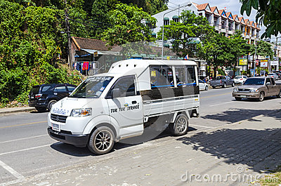 Small exchange office car in the Thai style.
