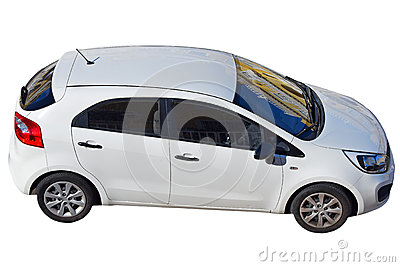 Small Family Hatchback Car With Street Reflections On Screen. Isolated With PNG File Attached