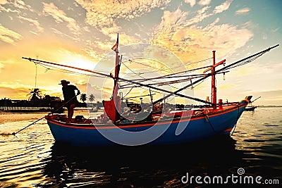 Small fisherman boats in the sea