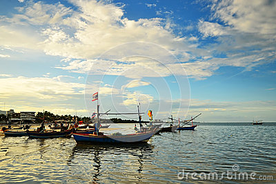 Small fisherman boats in the sea