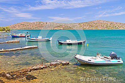 Small fishing boat at the coast of Crete