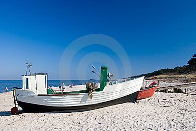 Small fishing boats on beach