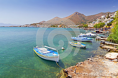 Small fishing boats on the coast of Crete