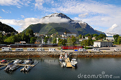 Small fishing village, fjord, Norway Editorial Stock Photo