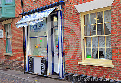 Small fishmongers shop with an awning. Editorial Photography