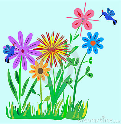 Small Flower Garden with Hummingbirds Illustration