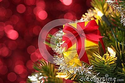 Small gift on Christmas tree.(horizontal)