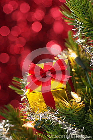 Small gift on Christmas tree.(vertical)