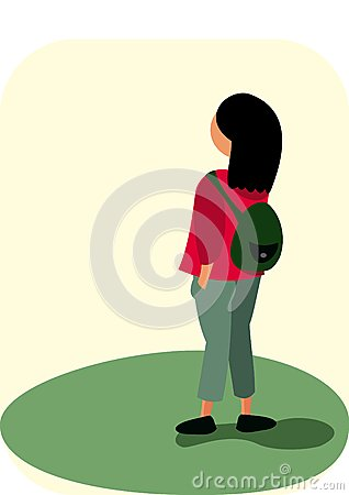 Small girl with a backpack