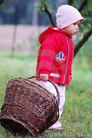 Small girl and basket