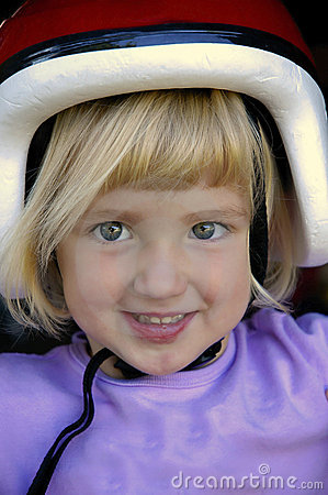 Small Girl with Bike Helmet
