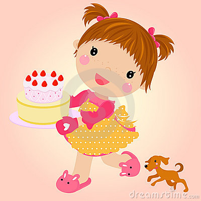 Small girl with cake celebrating birthday.