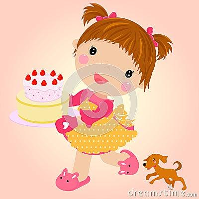 Small girl with cake celebrating birthday.