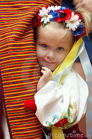 Small girl dressed in ukrainian traditions
