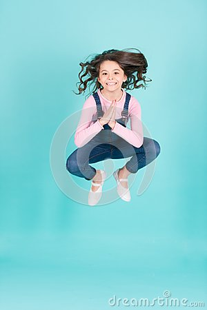 Free Small Girl Happy Jump In Yoga Pose, Energy Royalty Free Stock Photos - 112587158