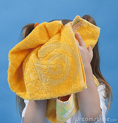 Free Small Girl Is Wiping Its Face By Towel Isolated Stock Photos - 15319873