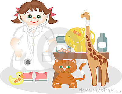 Small girl playing the veterinary medicine