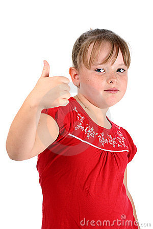 Small girl showing thumbs up gesture isolated