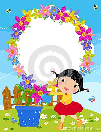 Small girl is watering plant in the garden.