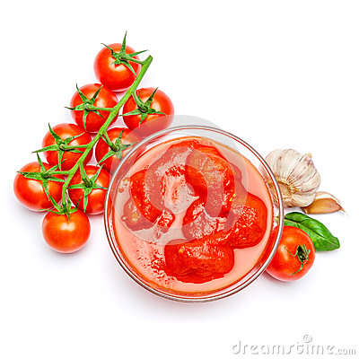 Free Small Glass Condiment Bowl Of Red Tomato Sauce Ketchup Of Peree Royalty Free Stock Image - 91610406