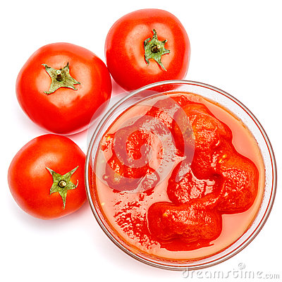 Free Small Glass Condiment Bowl Of Red Tomato Sauce Ketchup Of Peree Stock Image - 91610431