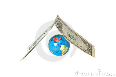 Small globe hiding under a dollar