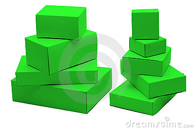Small green cardboard boxes