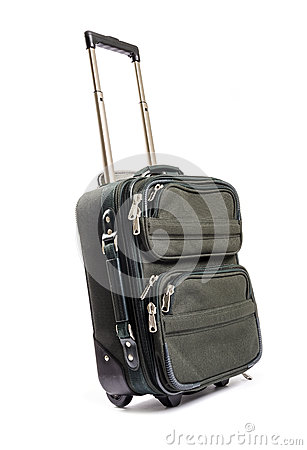 Small Green Travel Luggage Isolated #1