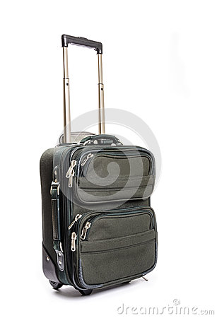 Small Green Travel Luggage Isolated #2