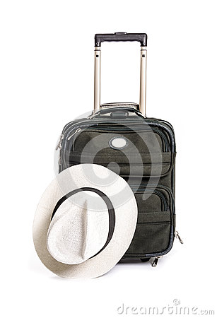 Small Green Travel Luggage Isolated #3