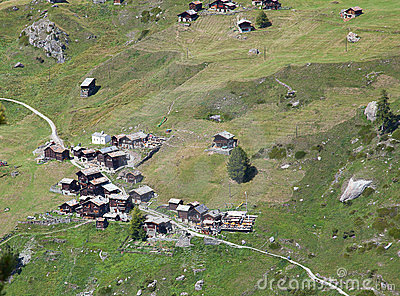 Small green village in the alps