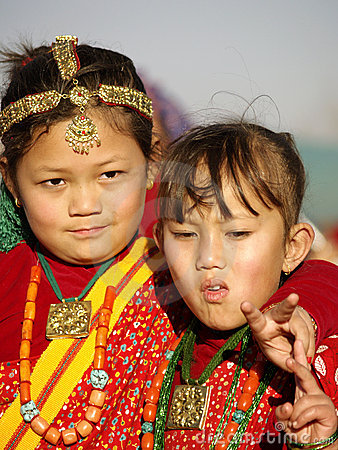 Small Gurung Girls Editorial Stock Image