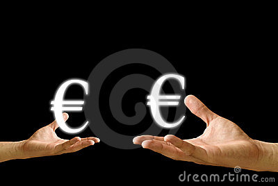 Small hand and big hand have Euro icon from