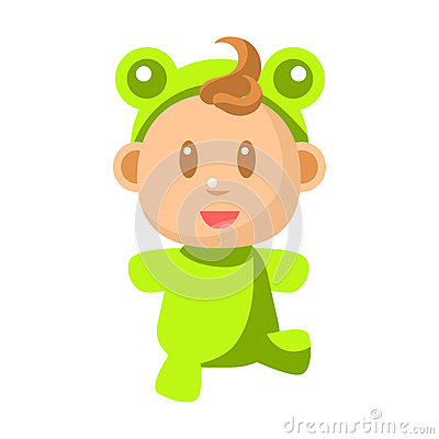 Free Small Happy Baby Walking In Green Frog Costume Vector Simple Illustrations With Cute Infant Royalty Free Stock Image - 87287966