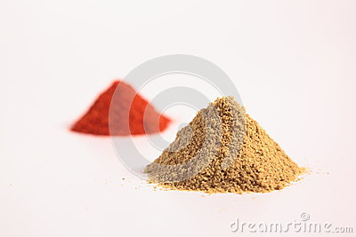 Small heap of spices, the coriander powder and Chilli Powder