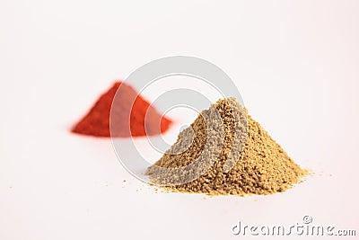 Small heap of spices, the coriander powder and Chilli Powder