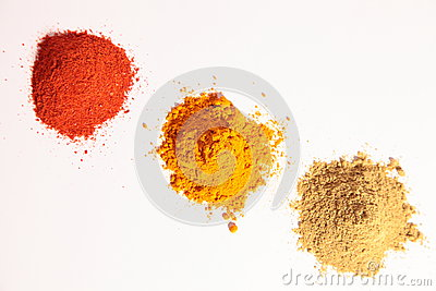 Small heap of spices, Red Chilli Powder, Yellow tu