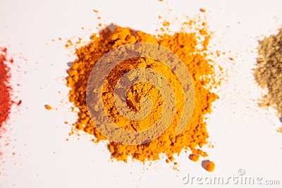 Small heap of spices, the turmeric powder