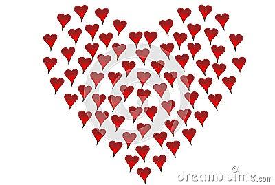 Small hearts shaped like big heart