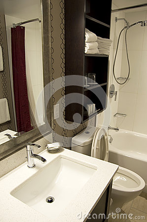 Small Hotel Bathroom Stock Photo Image 45587922