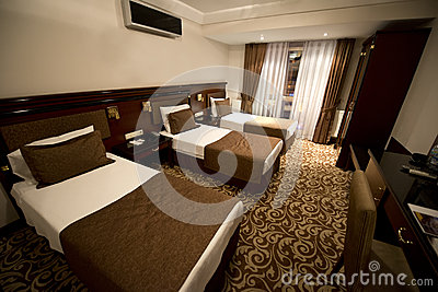 Small Hotel Room With Three Single Beds